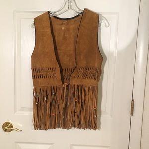 Jackets & Blazers - Vintage suede boho Western vest w fringe & beads